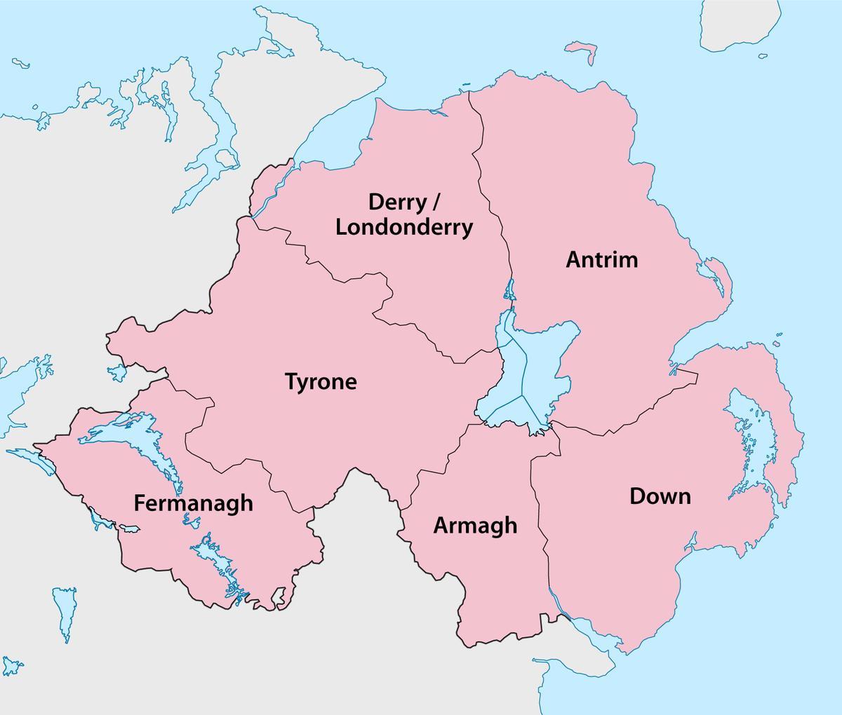 Irland Karte Städte.Karte Von Nord Irland Grafschaften Karte Von Nordirland Landkreise