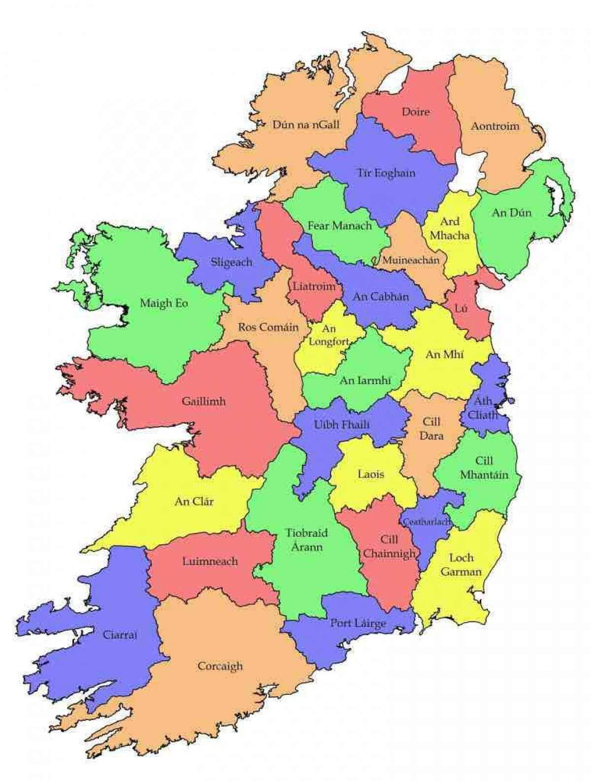 irland karte mit counties Beschriftete Karte von Irland   Karte von Irland mit county Namen