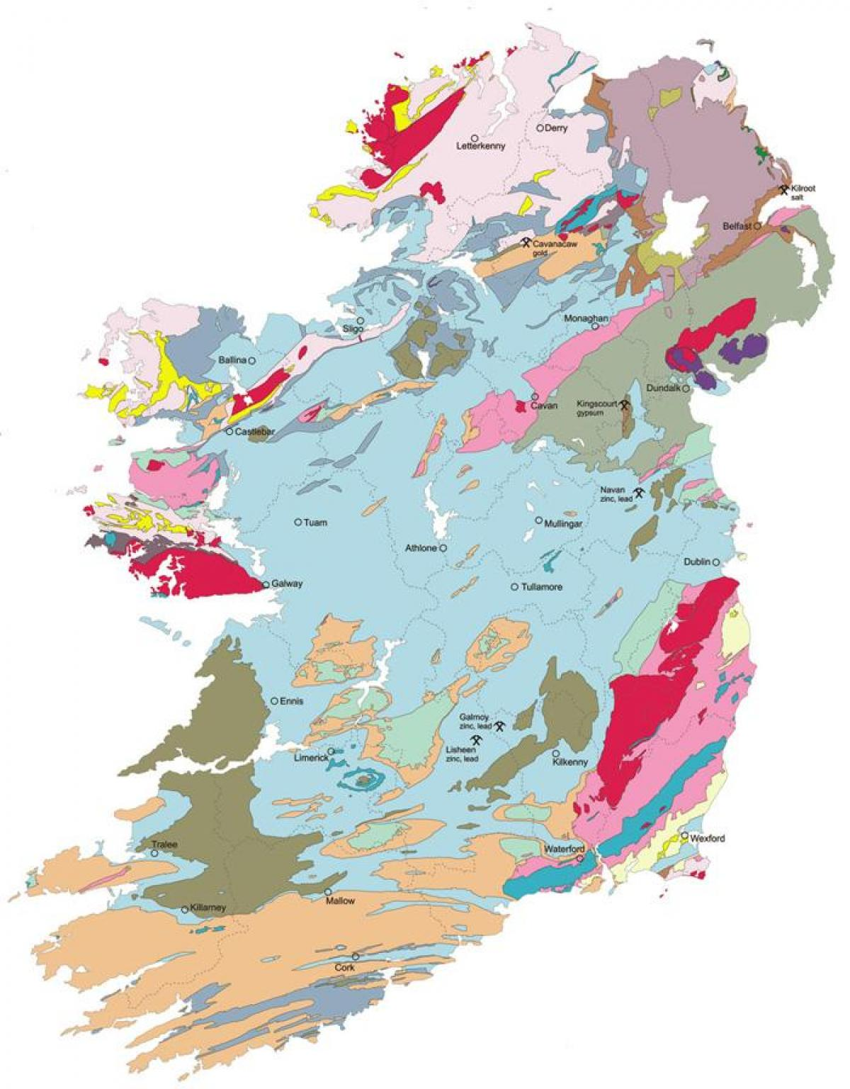 Irland Karte Europa.Geologische Karte Von Irland Karte Der Geologischen Karte Von