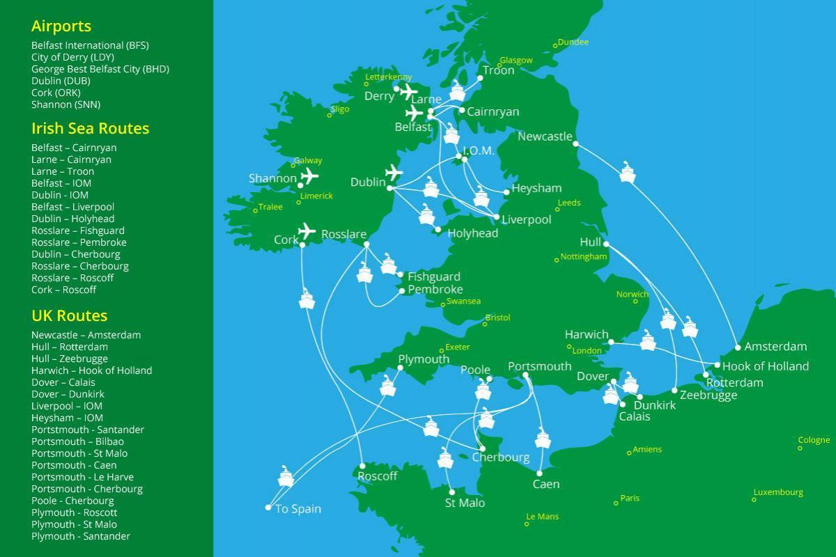fährverbindungen irland karte Irland Fährverbindungen map   Karte von Fähren nach Irland