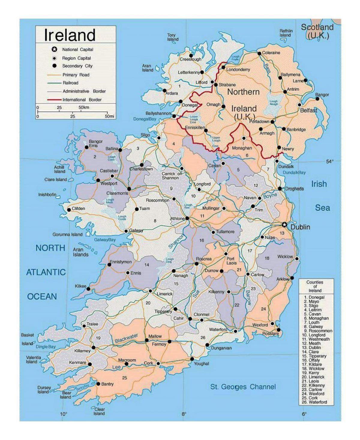 Karte Von Europa Mit Städten.Irland Städte Map Karte Von Irland Mit Städten Europa Nord Europa
