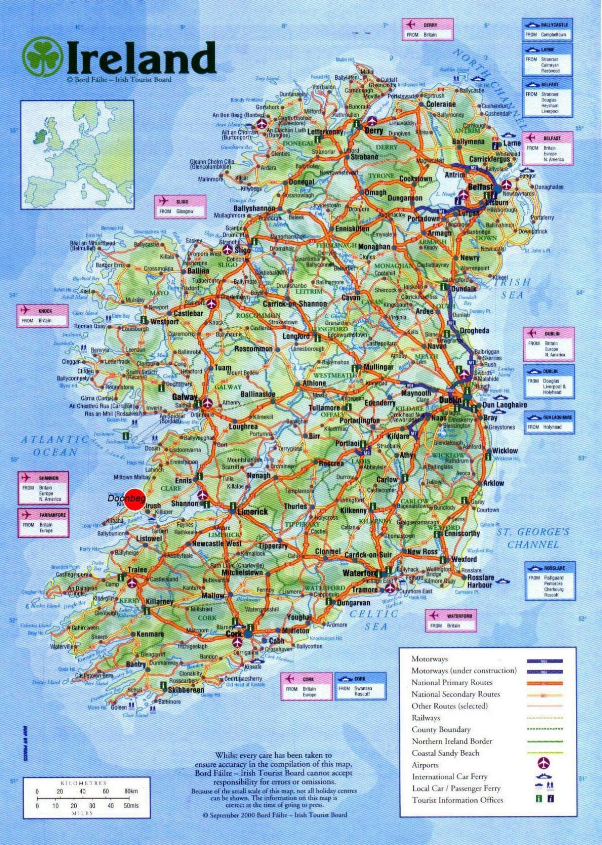 Irland Sehenswurdigkeiten Karte Karte Von Irland Die