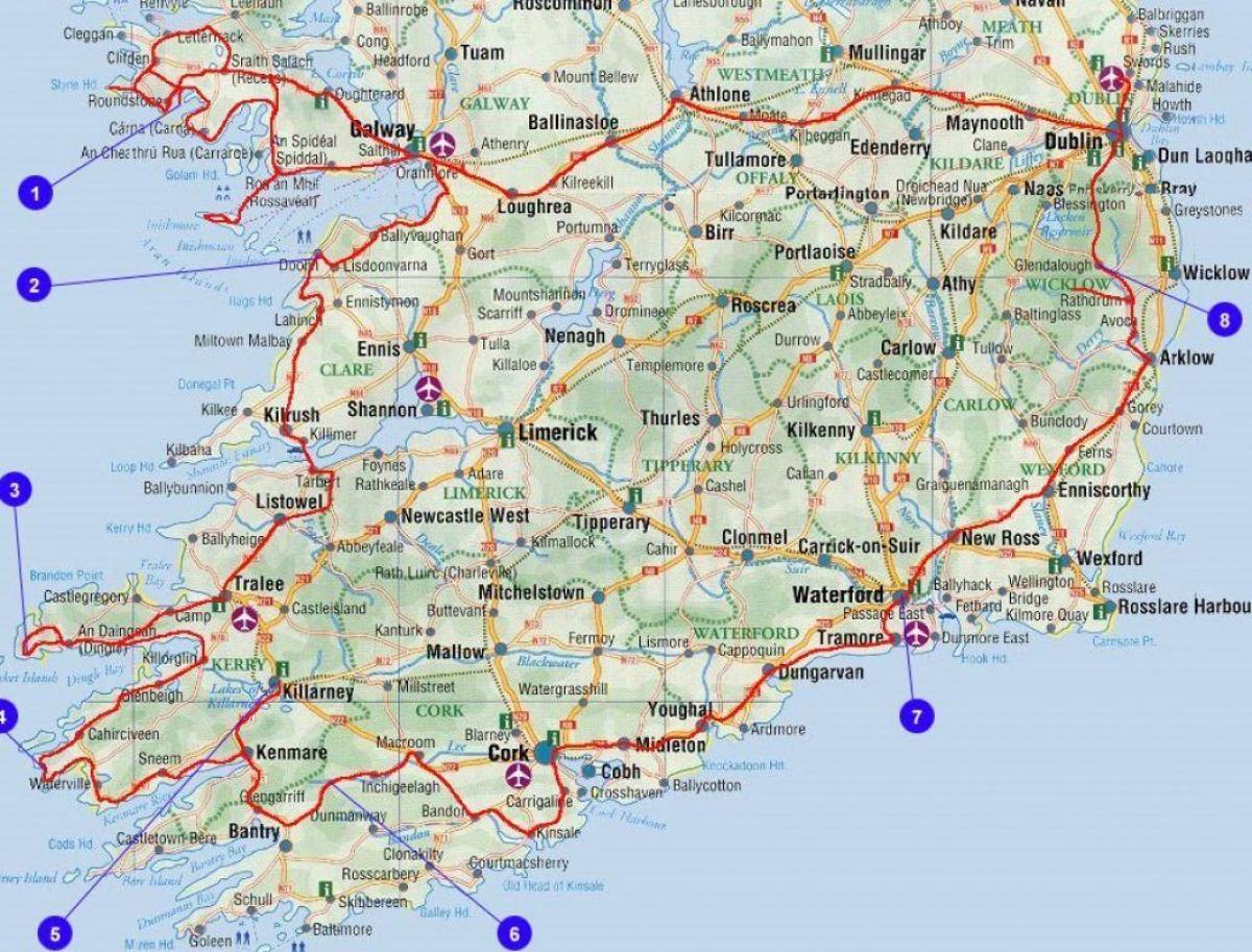 karte irland süden Karte des südlichen Irland Grafschaften und Städte   Karte des