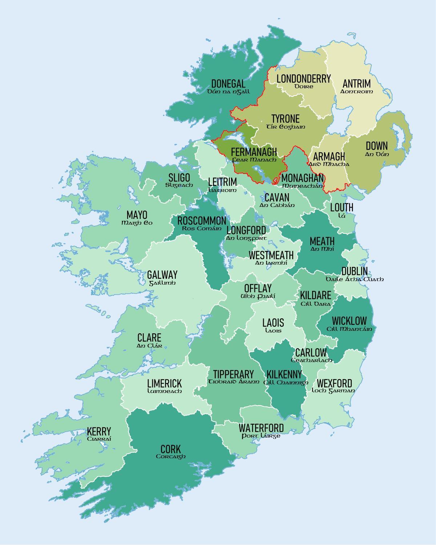 Irland Karte Europa.Karte Von Irland Die Landkreise Karte Irlands Grafschaften