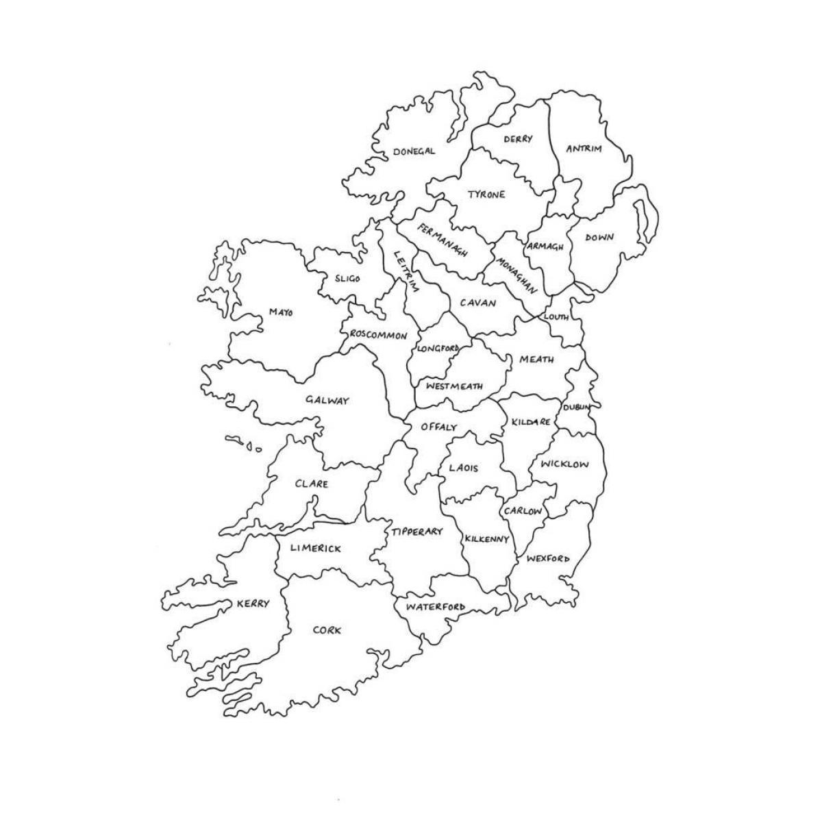 irland karte drucken Karte von Irland   drucken Karte von Irland (Northern Europe   Europa)