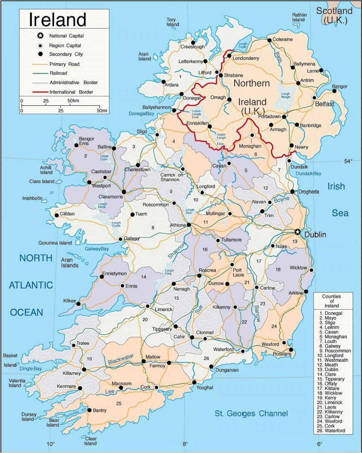 irland grafschaften karte Karte von Irland Grafschaften   Karte von Irland, einschließlich