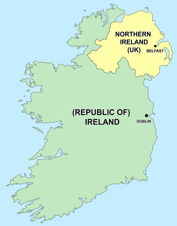 irland nordirland karte Karte von Nordirland und der Republik Irland   Karte von