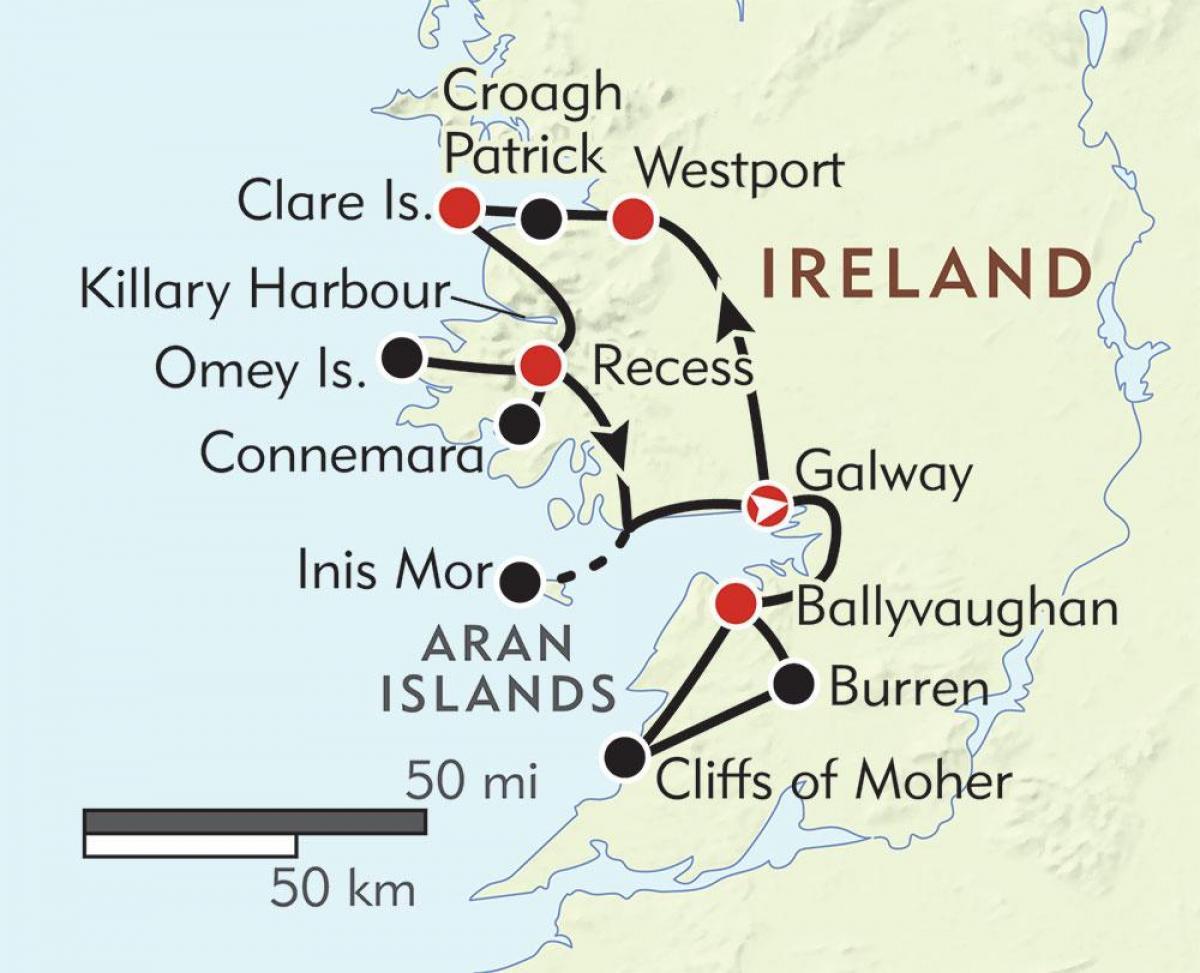 karte irland westküste West coast of ireland map   Karte von west Küste von Irland